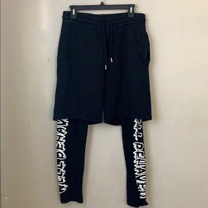 Shorts with inside legging design